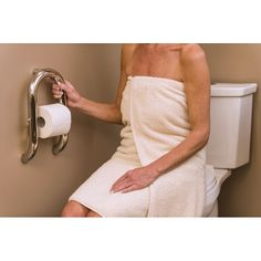 The Invisia Toilet Roll Holder with Integrated Grab Bar offers discreet support by the toilet, providing easy accessibility without sacrificing design and decor. Bathroom Grab Rails, Grab Bars In Bathroom, Bathroom Safety, Toilet Paper Dispenser, Toilet Paper Roll Holder, Bathroom Accessories Luxury, Toilet Accessories, Handicap Bathroom, Bathroom Toilets