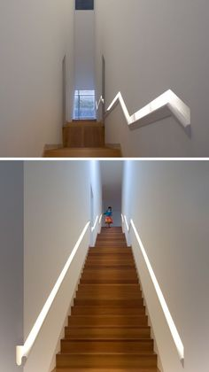 Stair Design Idea - 9 Examples Of Built-In Handrails | This built-in handrail that runs the length of the stairs does double-duty as a light source.