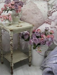 vintage and shabby chic bedroom with roses