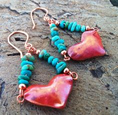 Copper Heart Earrings - Nacozari Turquoise Earrings - Cowgirl Jewelry - Rustic Jewelry - Cowgirl Earrings on Etsy, $35.00