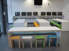 Our bright, motivational classroom furniture for Great Sankey School! Colours like these work brilliantly against a clean white backdrop