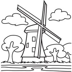 free coloring pages dutch windmill - photo#27