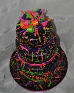 Neon Paint Splatter Cake! — Birthday Cakes  Love the bow!
