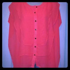 Jennifer Lopez flutter blouse size M Beautiful pink JLo blouse size M. Blouse buttons up the front. Perfect for spring/summer Jennifer Lopez Tops Blouses
