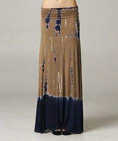 This Brown Tie-Dye Maxi Skirt by Mono B is perfect! #zulilyfinds $22.99, regular 42.00