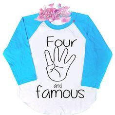 Four & Famous Fourth Birthday, Happy Birthday, Raglan Shirts, Birthday Shirts, Graphic Sweatshirt, Sweatshirts, Sweaters, Birthdays, Etsy