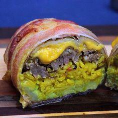 "The ""Potatorrito"" Burrito! The Vulgar Chef Strikes Again! Video Here! Carne Asada Burrito, Burrito Wrap, Spanish Dishes, Strikes Again, Group Meals, Bacon Wrapped, Burritos, Hamburger, Potatoes"