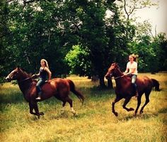 Girl best friends galloping together. # Ride like a girl