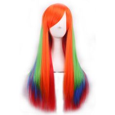 Orange Inclined Bang Rainbow Gradient Long Straight Cosplay Wig ($21) ❤ liked on Polyvore featuring beauty products, haircare, hair styling tools and orange
