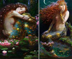 Victor Nizovtsev Victor Nizovtsev, Aqua Walls, Mermaid Artwork, Fiber Art Quilts, Whimsical Art, Creatures, Sirens, Beautiful, Folklore