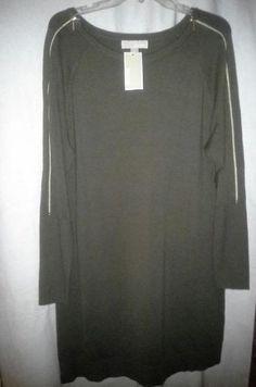 NWT! MICHAEL KORS Sweater Dress Tunic Zipper Sleeves Sz XS Duffle Olive $150 #MichaelKors #SweaterDress