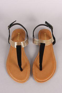 Bamboo T Strap Cuff Flat Sandal                                                                                                                                                                                 More