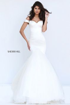 df5f20c7961 Off The Shoulder Cap Sleeves Ivory Sherri Hill 50732 Satin Bodice Pleated  Long Tulle Mermaid Dresses 2017
