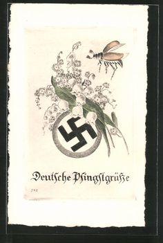 old postcard: AK Deutsche Pfingstgrüße, Hakenkreuz mit Maiglöckchen u. Marienkäfer