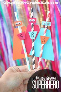 Paper Straw Superheroes - Kid Craft Idea