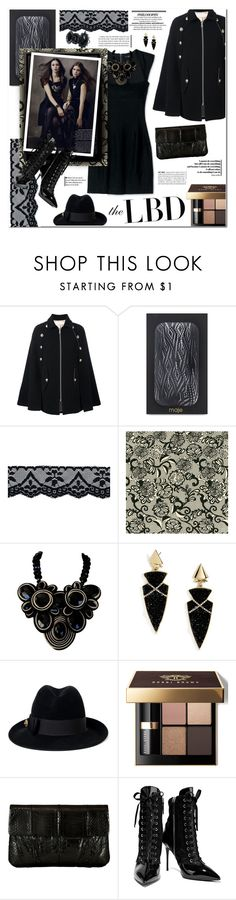"""""""the LBD."""" by sinesnsingularities ❤ liked on Polyvore featuring See by Chloé, Maje, Funktional, BaubleBar, Gucci, Bobbi Brown Cosmetics, Inge Christopher, Giuseppe Zanotti, Dsquared2 and LBD"""
