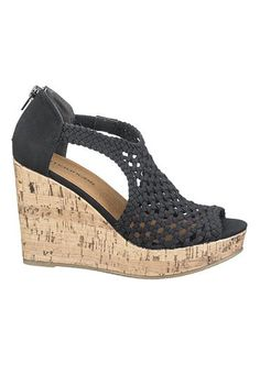 black and cork dana woven wedge #maurices
