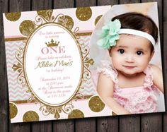 first birthday pink and gold invitation princess invitation