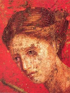 Female (detail) behind the figure of the Bacchante in Scene VII, Villa of the Mysteries, Porta Ercolano, Italy