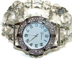 Crystal and Silver Chunky Beaded Watch  by BeadsnTime on Etsy