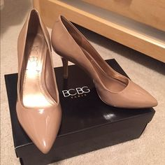 Nude heels..worn one time Nude heels in great condition...some scratches on the right heel. Worn only once! BCBG Shoes Heels