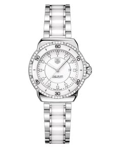 Tag Heuer Women's Swiss Formula 1 Diamond (1/3 ct. t.w.) Stainless Steel and White Ceramic Bracelet Watch 32mm WAH1313.BA0868