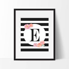 Lovely floral and stripes monogram print - choose your initial! Black and white stripes with soft pink and coral watercolor flowers!! Lovely home