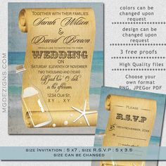 Printable shabby chic message in a bottle beach wedding invitation template
