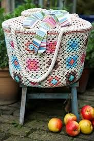 Image result for crochet granny square baskets
