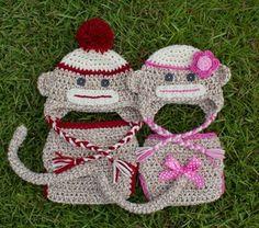 Boy and girl sock monkey.