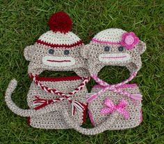 Boy and girl sock monkey.