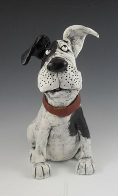 Excellent Cost-Free Clay Pottery dog Popular Listening Dog by Kathleen Kelly Paper Mache Sculpture, Sculptures Céramiques, Dog Sculpture, Pottery Sculpture, Pottery Animals, Ceramic Animals, Clay Animals, Ceramic Art, Ceramic Pottery