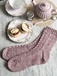 Ravelry: Cornish Cream Tea Socks pattern by Helen Stewart Knitting Socks, Hand Knitting, Knitting Patterns, Knit Socks, Knitting Machine, Vintage Knitting, Stitch Patterns, Cornish Cream Tea, Knit Or Crochet