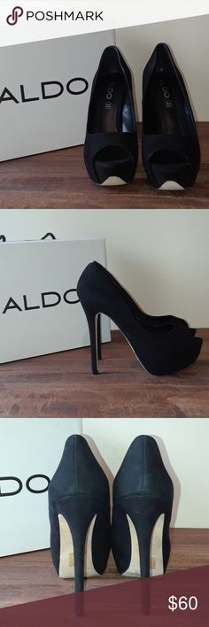 "Aldo Black Genuine Leather-suede feel 4 1/2"" Heels Luxurious black HIGH heels. Guaranteed to make your legs look the most fabulous they've ever looked! Rock that little black dress in style with these peep toe stilettos! Comes in original box. In EUC. ""Flosapa"" style 4 1/2"" Aldo Shoes Heels"