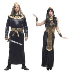 Chemical Fibre Temperament Prince of Egypt and Ancient Egyptian Queen Halloween Cosplay Masquerade Party Costume Stage Clothing for Lovers