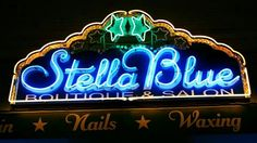 Stella Blue Boutique &Salon neon sign on Congress in Austin Tx. I took the picture 2/4/2014