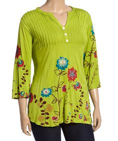 f2b0ee2e27b Love this Red Floral Three-Quarter Sleeve Tee - Plus by Rising  International on #