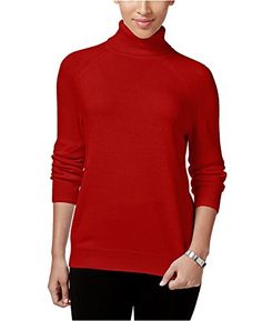 Karen Scott Luxsoft Turtleneck Sweater in Red Cherry XSmall -- Click image for more details. (This is an affiliate link)