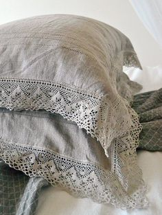 "Natural softened linen pillow case ""Provincial Living"" with linen lace. Pure linen bedding"