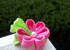 Green & Pink Polka dot Kanzashi set by SewGurlyBowtique on Etsy, $8.00