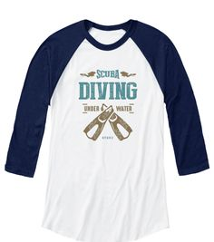 Scuba Diving Under Water D T U R White/Navy T-Shirt Front