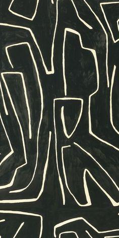KELLY WEARSTLER | GRAFITTO WALLPAPER. In Onyx/Beige