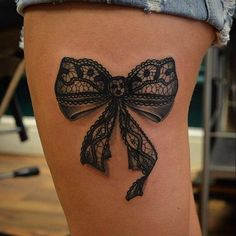 Black Ink Lace Bow Tattoo On Side Thigh Lace Tattoo On Girl Neck Lace ...