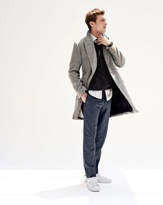 J.Crew men's Ludlow double-breasted topcoat, slim crewneck sweater, Ludlow shirt in charcoal stripe end-on-end cotton, Bowery slim pant, tie in grey and Adidas® Stan Smith™ sneakers.