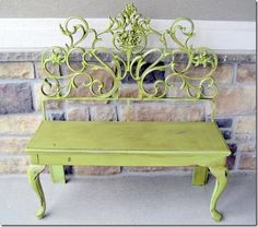 Cool bench!  Could use old iron headboard and a coffee table. *Want to try this! Maybe oragne, white & black instead of green?