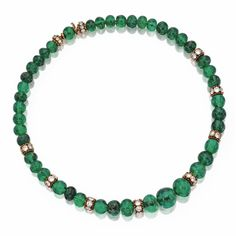Emerald bead and diamond necklace | lot | Sotheby's