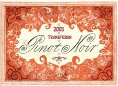 Vintage Wine Labels - Pinot Noir by Grady McFerrin (for Bonny Doon Vineyard) __[gmillustrations.com] #cCreams #cOrange