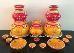 Pots Kalash Decoration, Thali Decoration Ideas, Diy Diwali Decorations, Stage Decorations, Indian Wedding Decorations, Festival Decorations, Flower Decorations, Decor Ideas, Diwali Craft