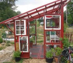 "Greenhouse Made From Old Windows | Blue ""greenhouse"" made from old windows - Fine Homebuilding 