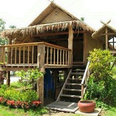 """Here are 50 photos of houses made of logs or wood, bamboo, and other indigenous materials. From small and simple """"Bahay Kubo"""" to rustic cabins and. Thai House, Bamboo House Design, Tiny House Design, Rest House, House In The Woods, Bahay Kubo Design, Jungle House, Bamboo Architecture, House On Stilts"""